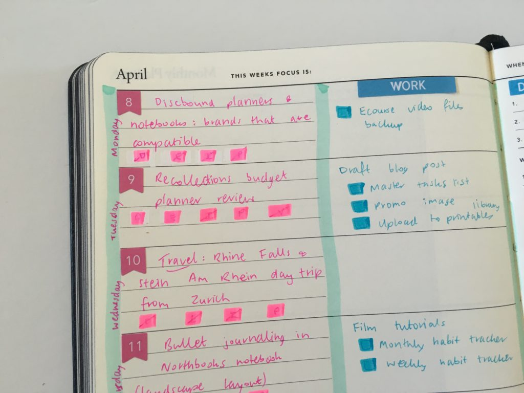 mi goals weekly planner review blogging hacks color coding carpe diem date dot stickers