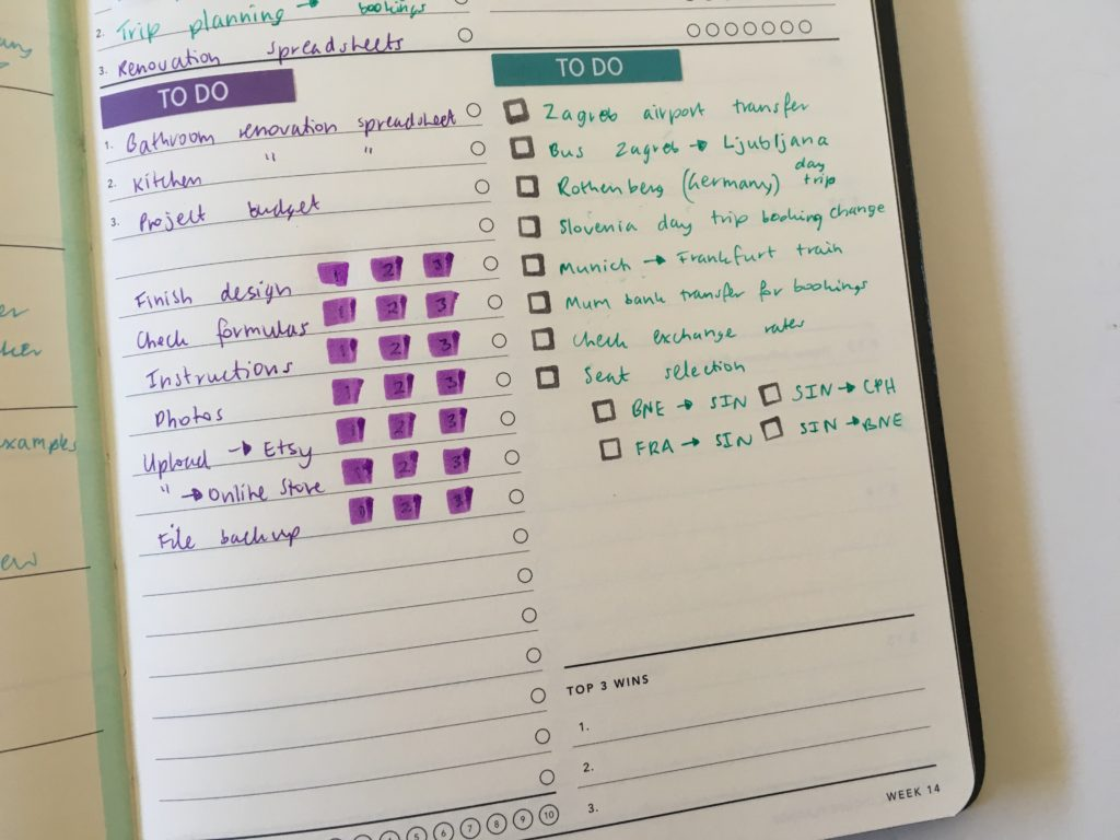 mi goals weekly planner review blogging hacks color coding simple quick minimalist planner hack using an expired planner
