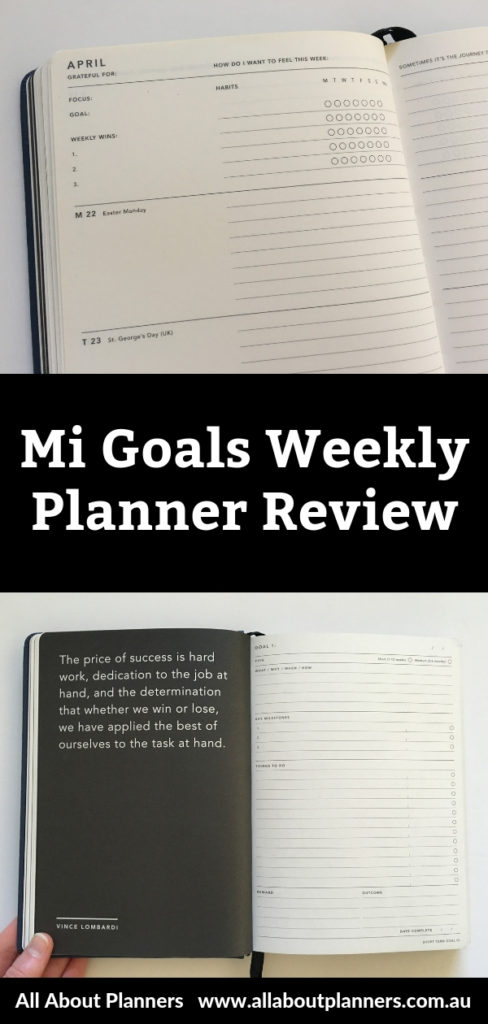 mi goals weekly planner review horizontal lined unlined monday start goal planning short term long term minimalist aussie