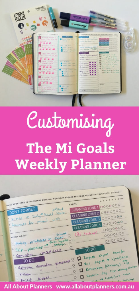 mi goals weekly planner spread hacks customisation weekly planner stickers rainbow colorful highlighters simple quick blogging