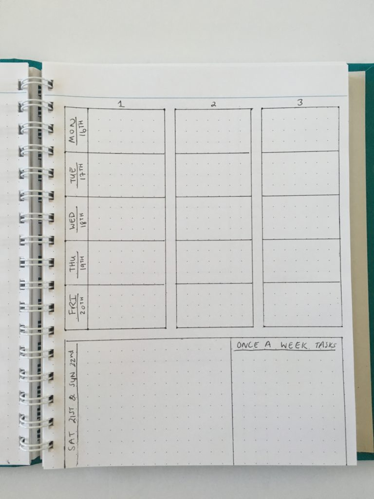 one page layout bullet journal spread ideas simple minimalist priority layout 5 day week custom agendio notebook