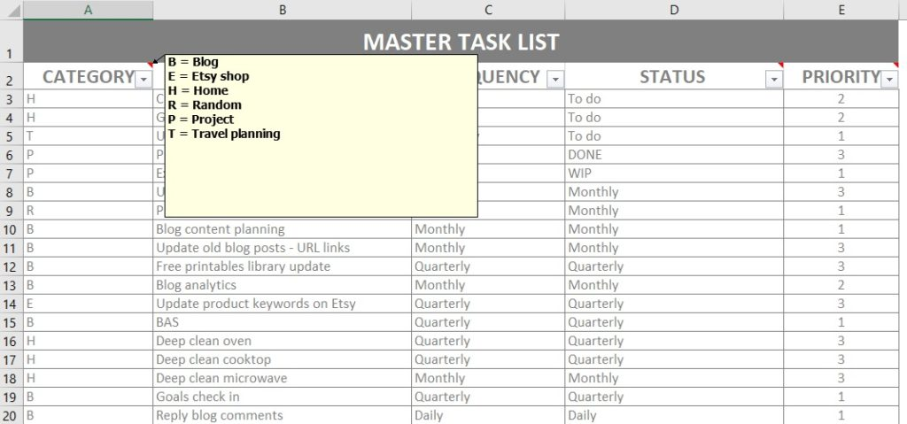 printable checklist excel master list home organizer color code simple spreadsheet to organize your life alternative to trello