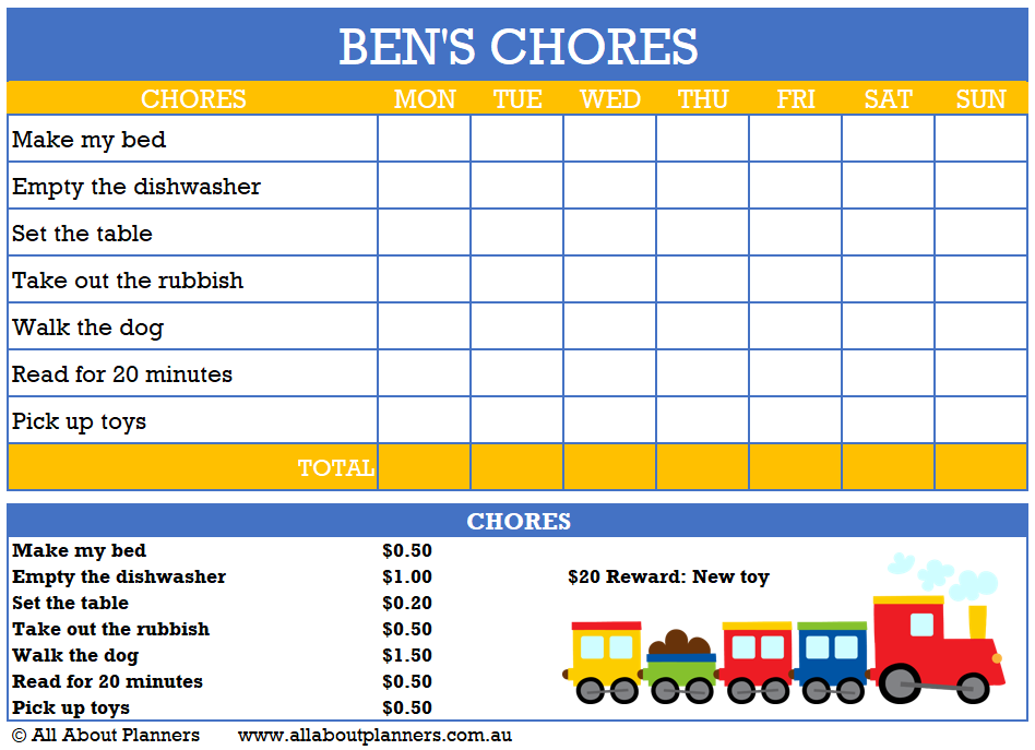 printable chore chart boy childrens responsibility tasks routine habits to do
