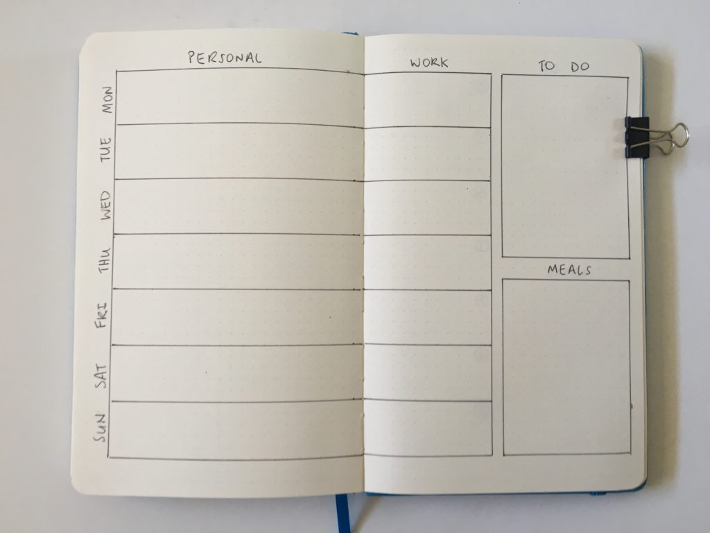 simple bullet journal layotut work personal school college to do meal bujo 2 page weekly spread start monday or sunday