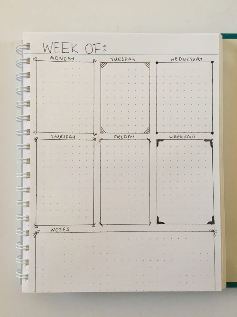 simple minimalist bullet journal decorating bujo black pen quick easy 1 page weekly spread weekends combined