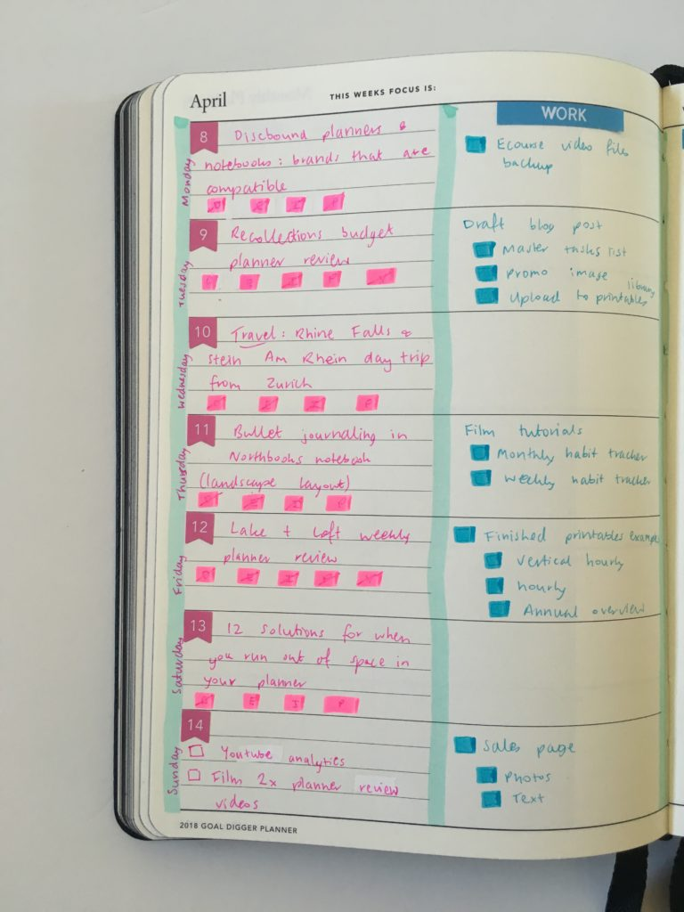 using the mi goals weekly planner for blogging blog post planning tips ideas colorful color coding highlighter pens