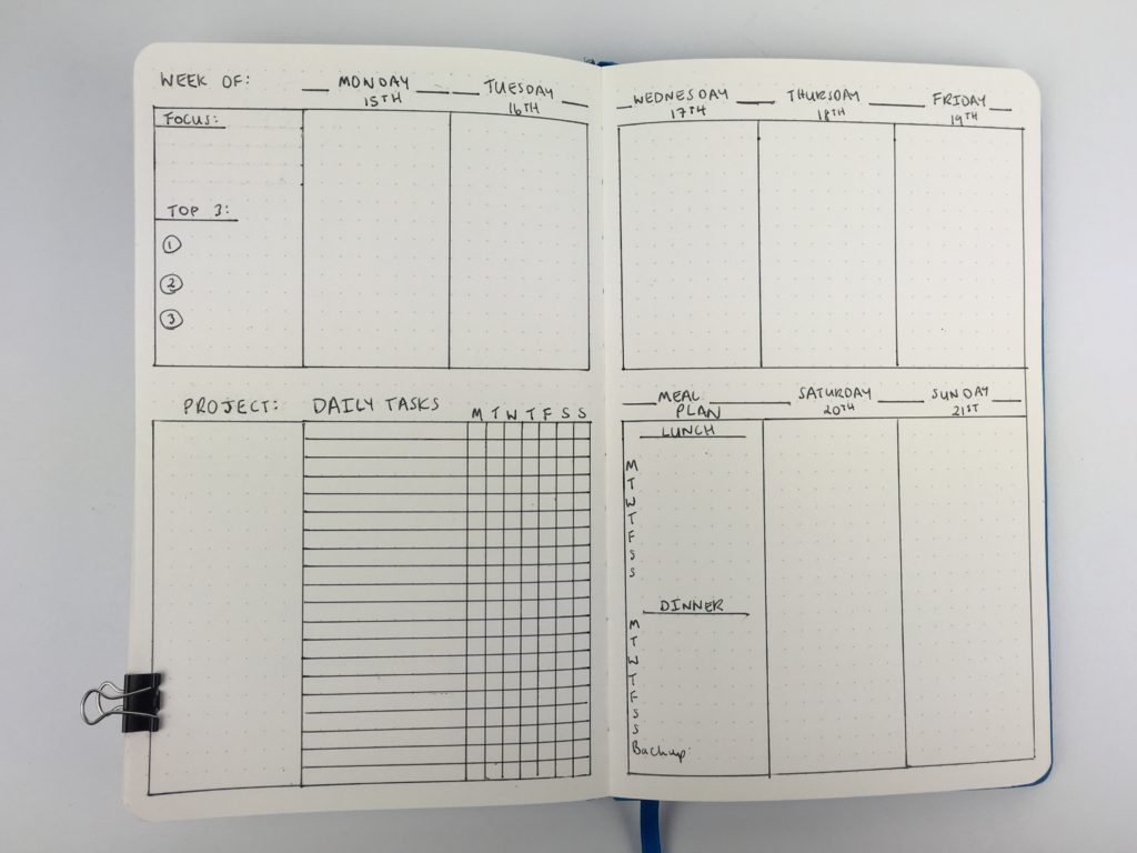 weekly spread bullet journal with habit traker meal plan vertical top 3 daily tasks project entrepreneur productivity goal setting monday start