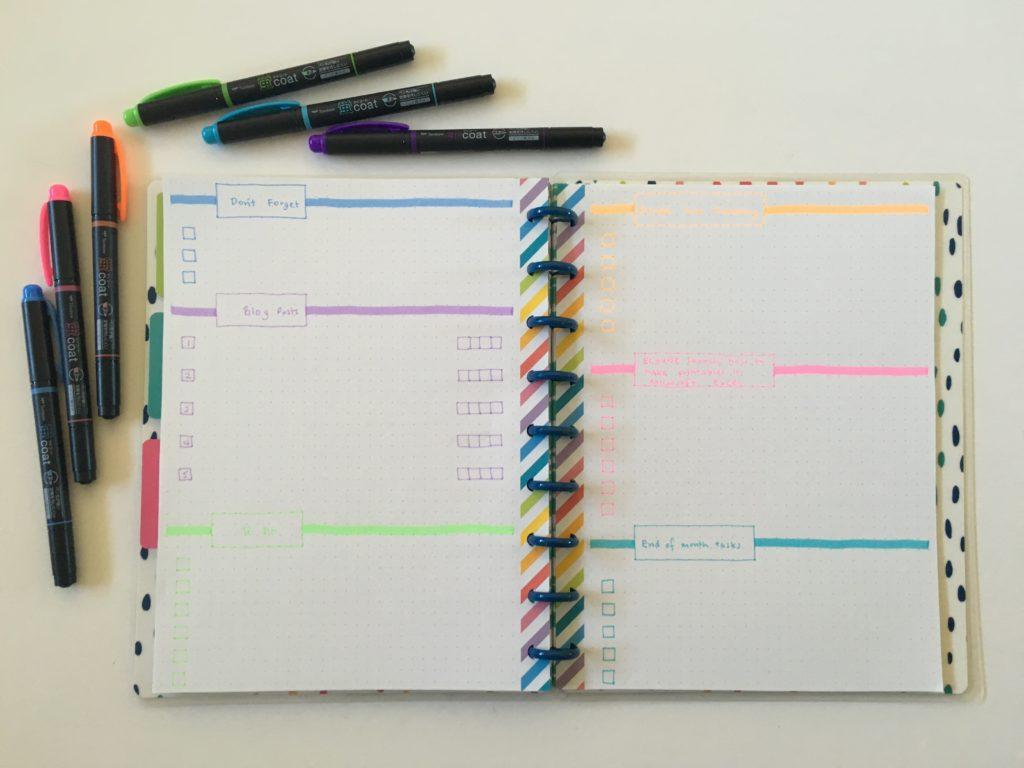 10 minute bullet journal spread rainbow simple minimalist