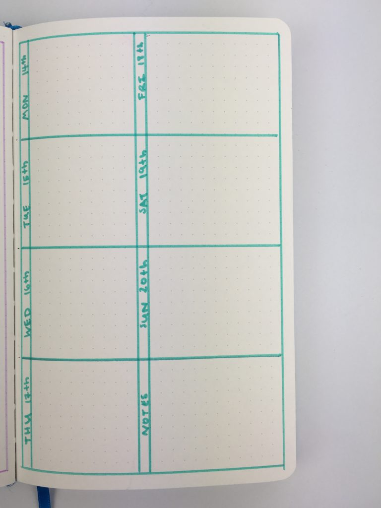 bullet journal 1 page weekly spread monday start highlighters simple minimalist quick