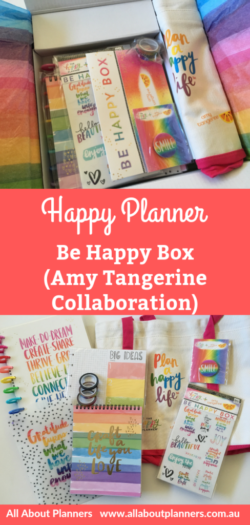 be happy box amy tangerine and happy planner collaboration video review pros and cons planner stickers dashboard washi tape bag