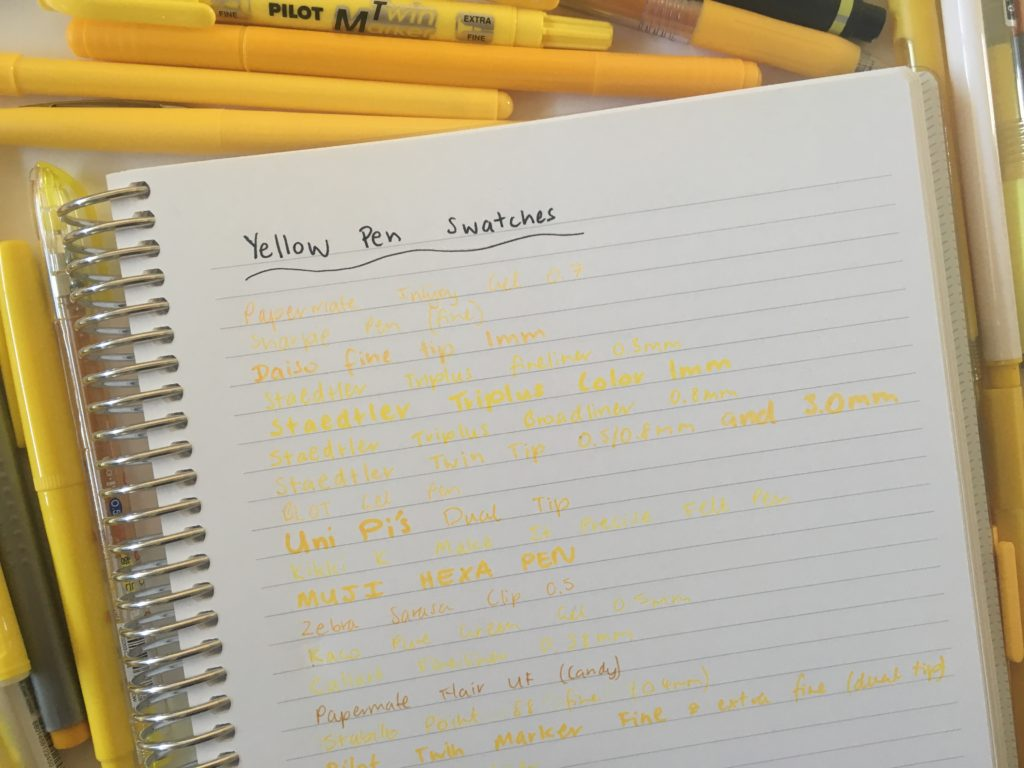 best yellow pens for planning recommended swatches ghosting bleed through review