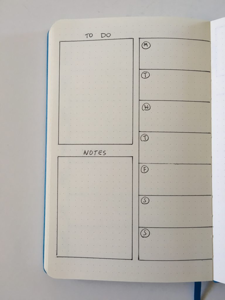 bullet journal simple weekly spread 1 page layout ideas meal planning inspiration tips monday start
