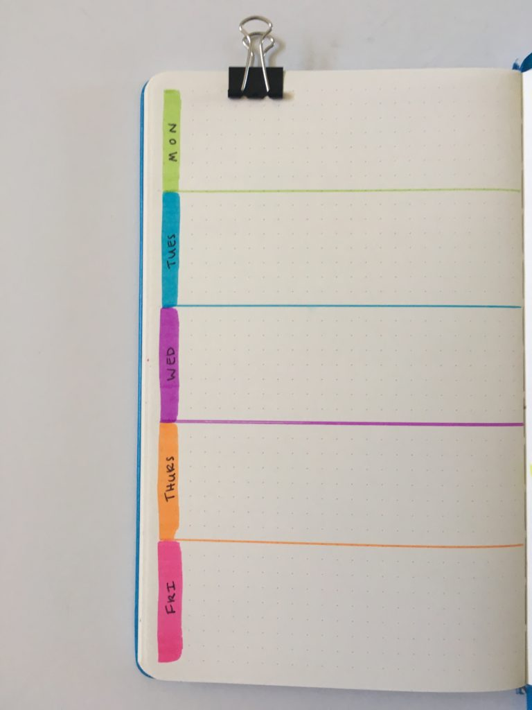 bullet journal tombow brush pen rainbow horizontal 1 page weekly spread inspiration ideas layout