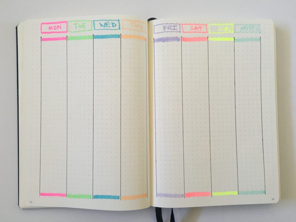 bullet journal vertical weekly spread 2 page monday start simple minimalist vertical highlighters quick easy color coding by day