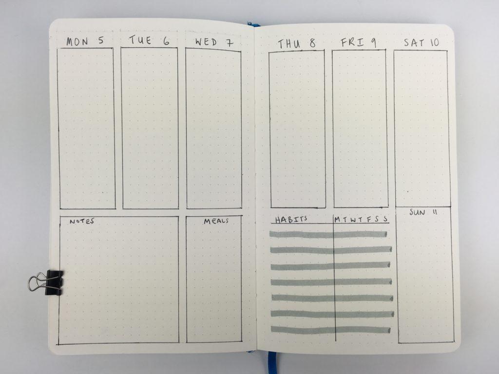 bullet journal weekly planner spread monday start habit tracker minimalist zebra mildliner grey weekly menu vertical 2 page simple