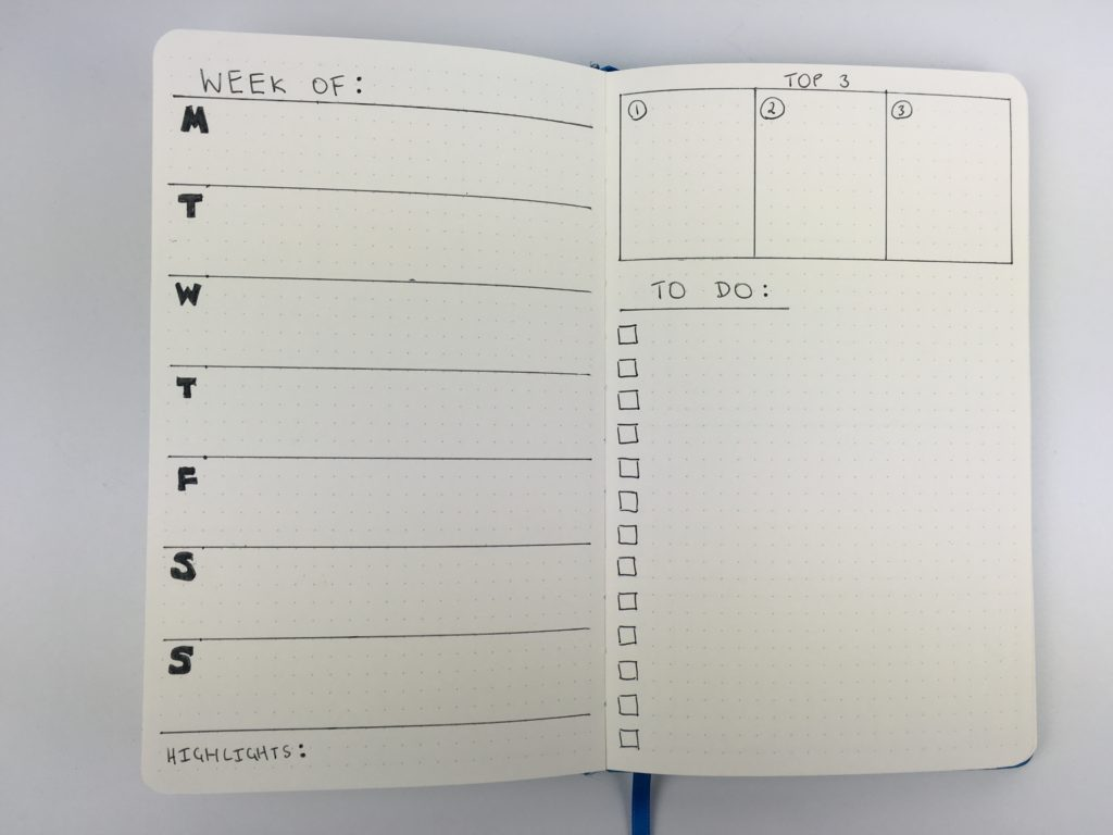 bullet journal weekly spread horizontal layout checklist top 3 minimalist simple inspiration ideas diy quick easy monday start