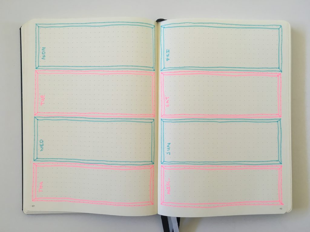 bullet journal weekly spread horizontal simple highlighter border tips layout monday start leuchtturm 1917 dot grid notebook