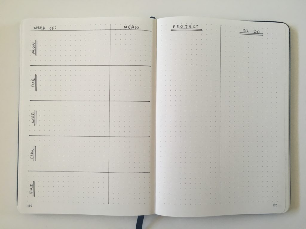 bullet journal weekly spread project planning to do checklist 5 day week work planner student mom family college school
