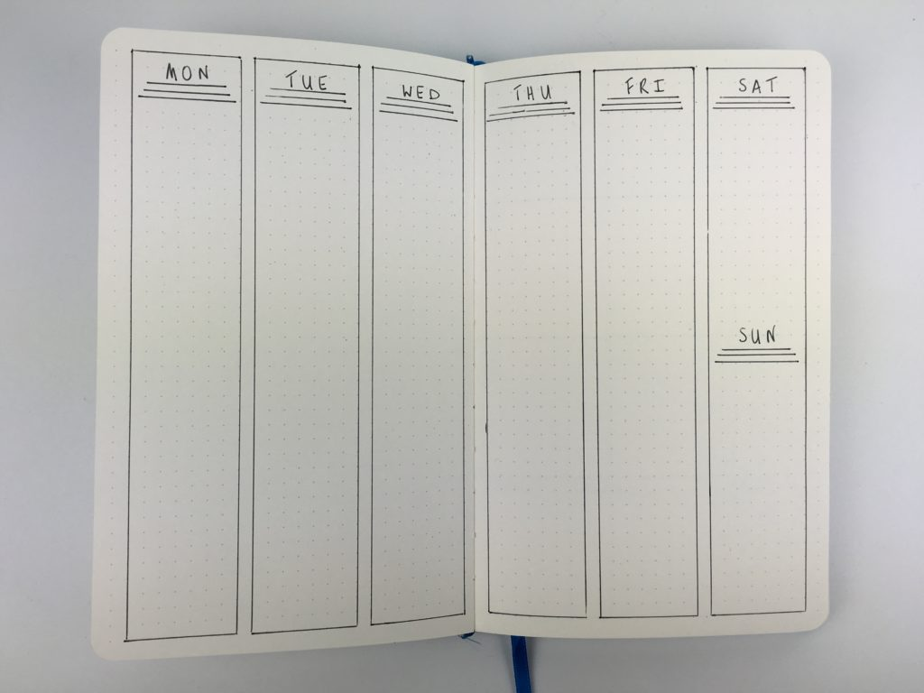 bullet journal weekly spread vertical simple minimalist black pen only quick easy newbie
