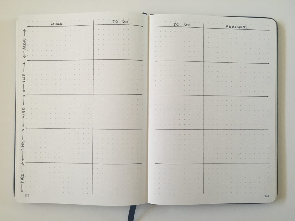 bullet journal work and personal weekly spread layout ideas for bujo simple minimalist quick