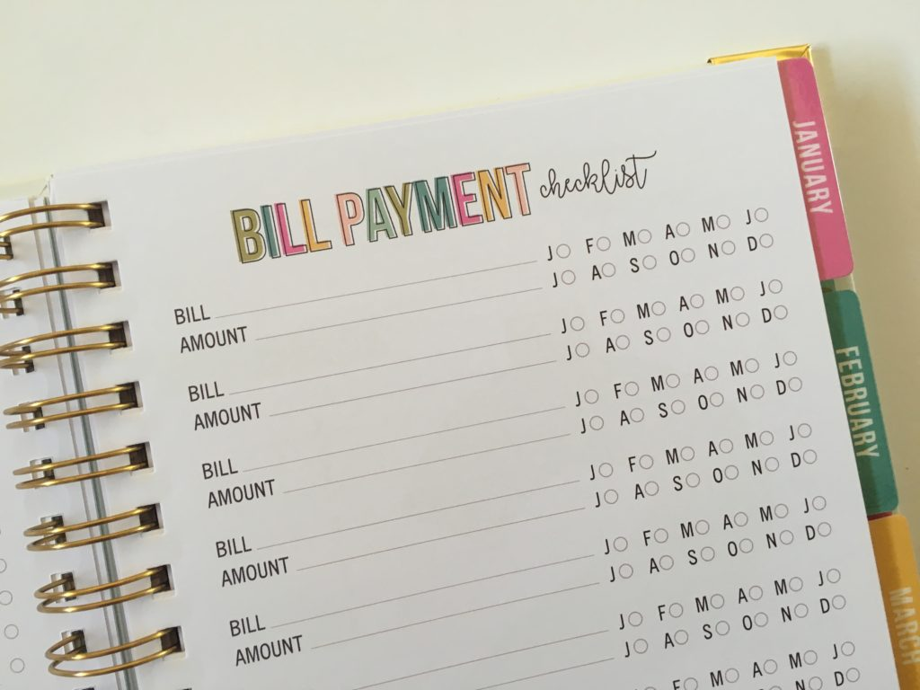 carpe diem bill payment checklist budget planner