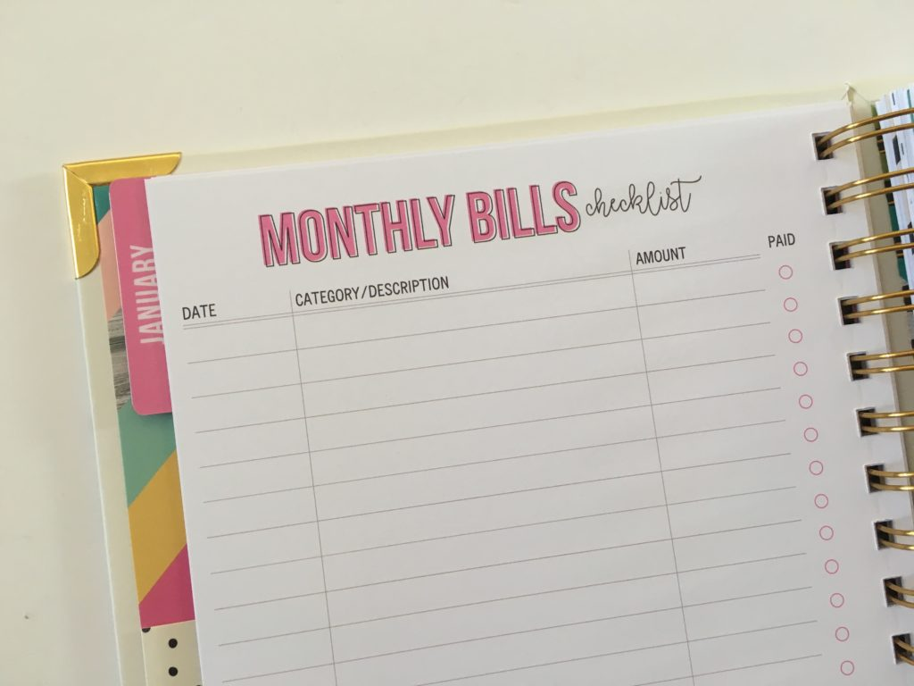 carpe diem budget planner monthly bills checklist