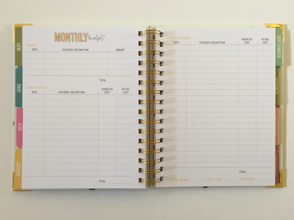 carpe diem budget planner monthly income expenses tracker debt payoff savings undated