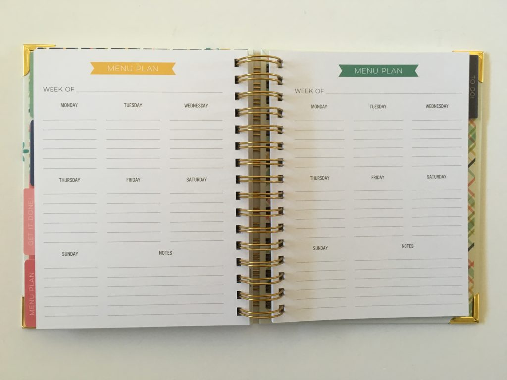 carpe diem meal planning pages in the home planner weekly review