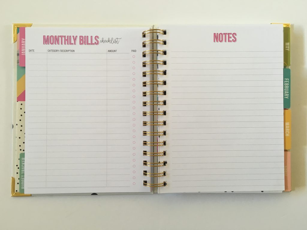 carpe diem monthly bills checklist planner