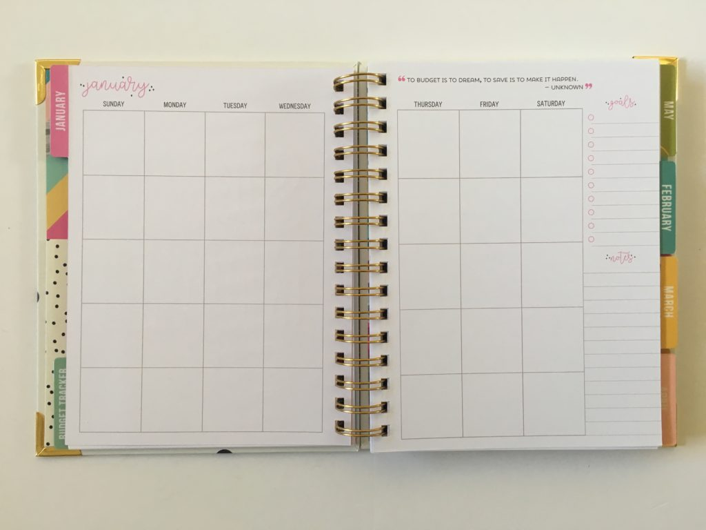 carpe diem monthly calendar review 2 pages sunday start minimalist simple functional affordable