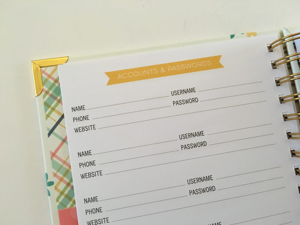carpe diem planner review password log bank account weekly spread insurance info mom planner