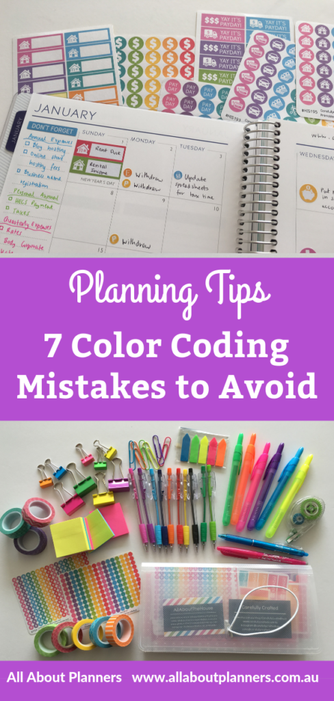 color coding mistakes to avoid planning tips inspiration ideas school beginner diary agenda organization all about planners