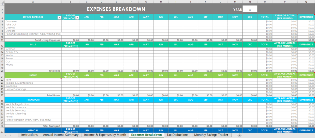 family budget monthly expense breakdown budget actual difference automatic formulas excel spreadsheet simple easy to use download