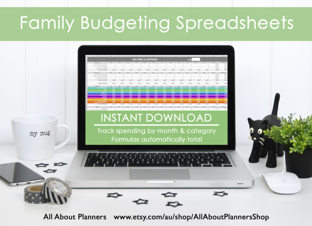 family budgeting spreadsheets rainbow color coded expenses breakdown by month automatic formulas excel spreadsheets
