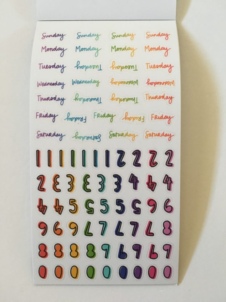 happy planner be happy box sticker book rainbow functional decorative quotes phrases tasks to do washi tape date day labels