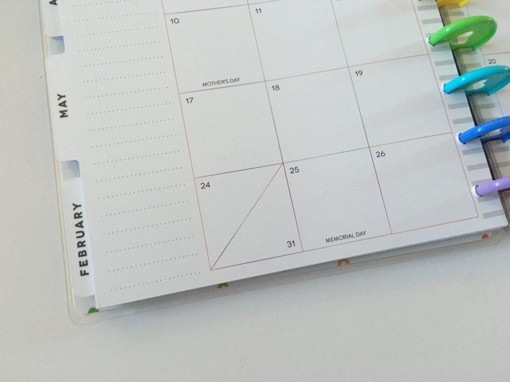 happy planner split monthly boxes calendar