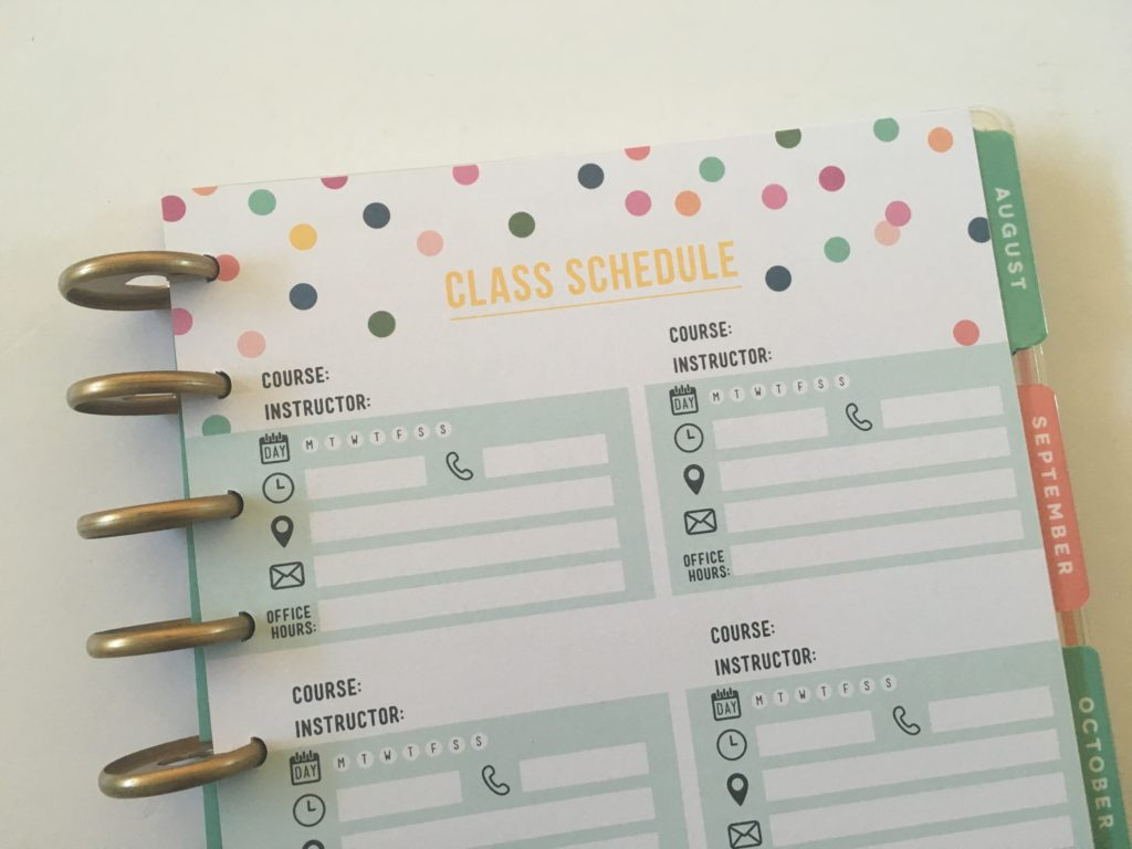 happy planner student edition class schedule