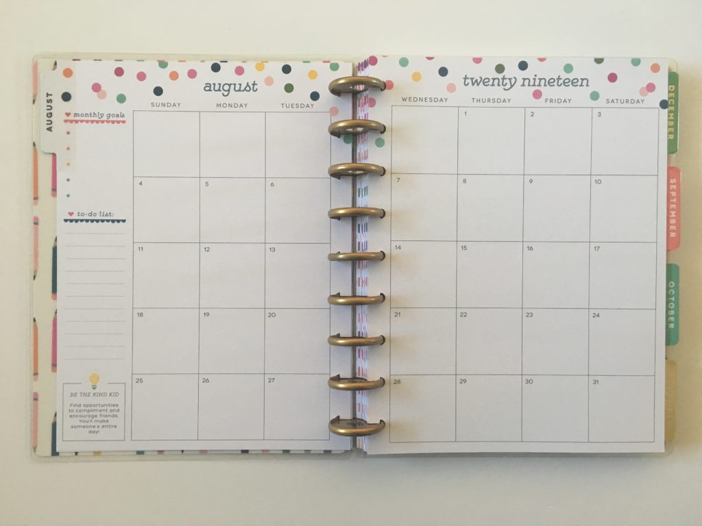 mambi happy planner student edition monthly calendar 2019 2 pages per month sunday week start rainbow confetti