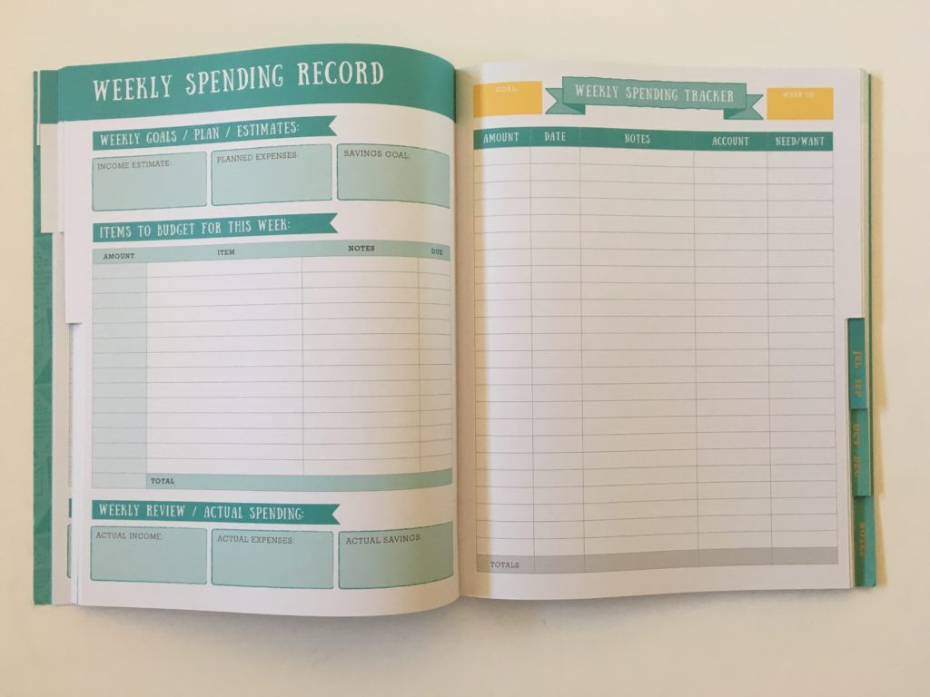 otto budget planner weekly spending record income expenses pen and paper recurring family budget