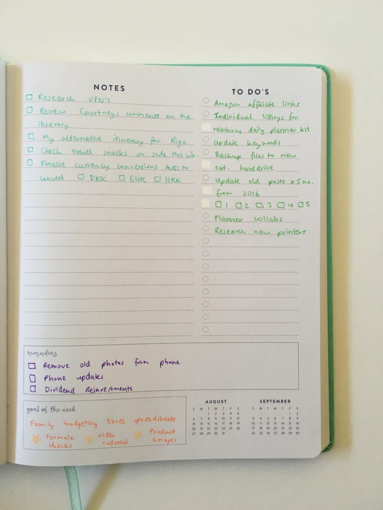 planner spread without using stickers ecollo weekly planner