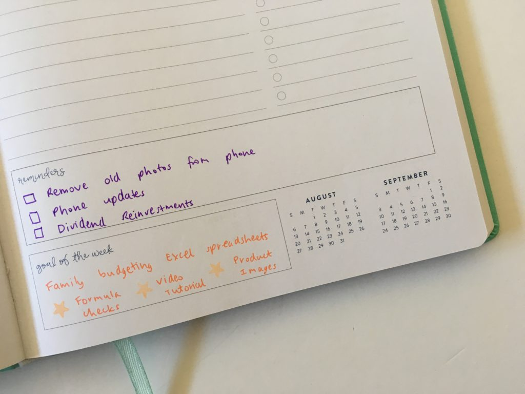 planner spread without using stickers ecollo weekly planner goals reminders color coding by category