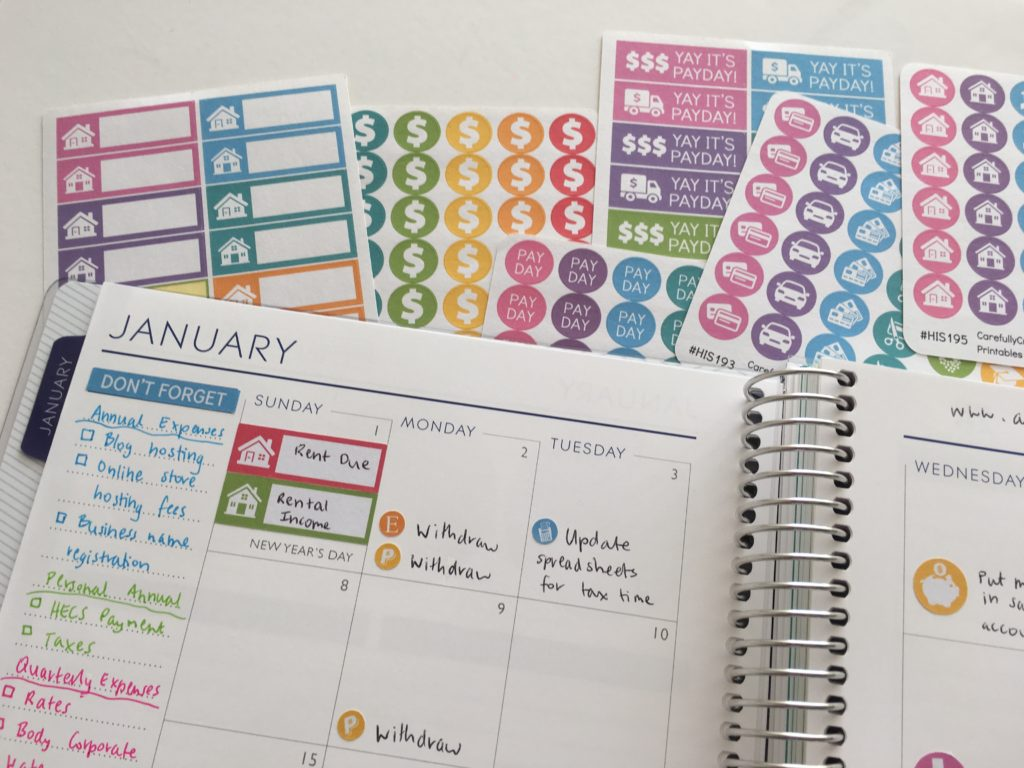 planning using stickers color coding bill paying monthly calendar setup plum paper layout ideas tips inspiration business blog expenses