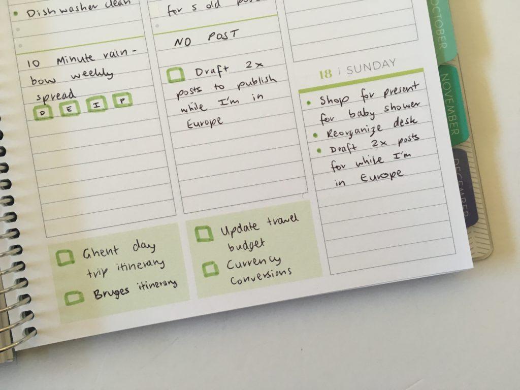 plum paper vertical priorities layout green theme