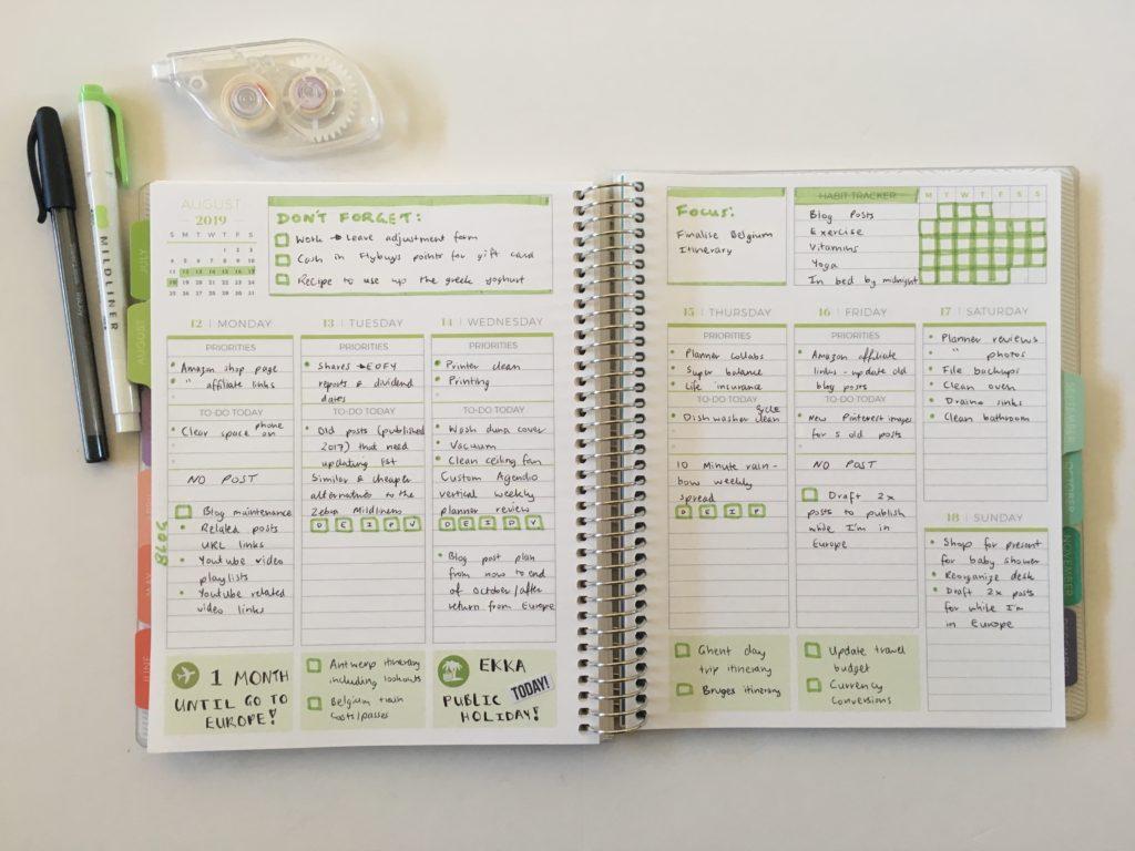plum paper vertical priorities weekly spread green theme simple minimalist quick easy zebra mildliner habit tracker lined writing space