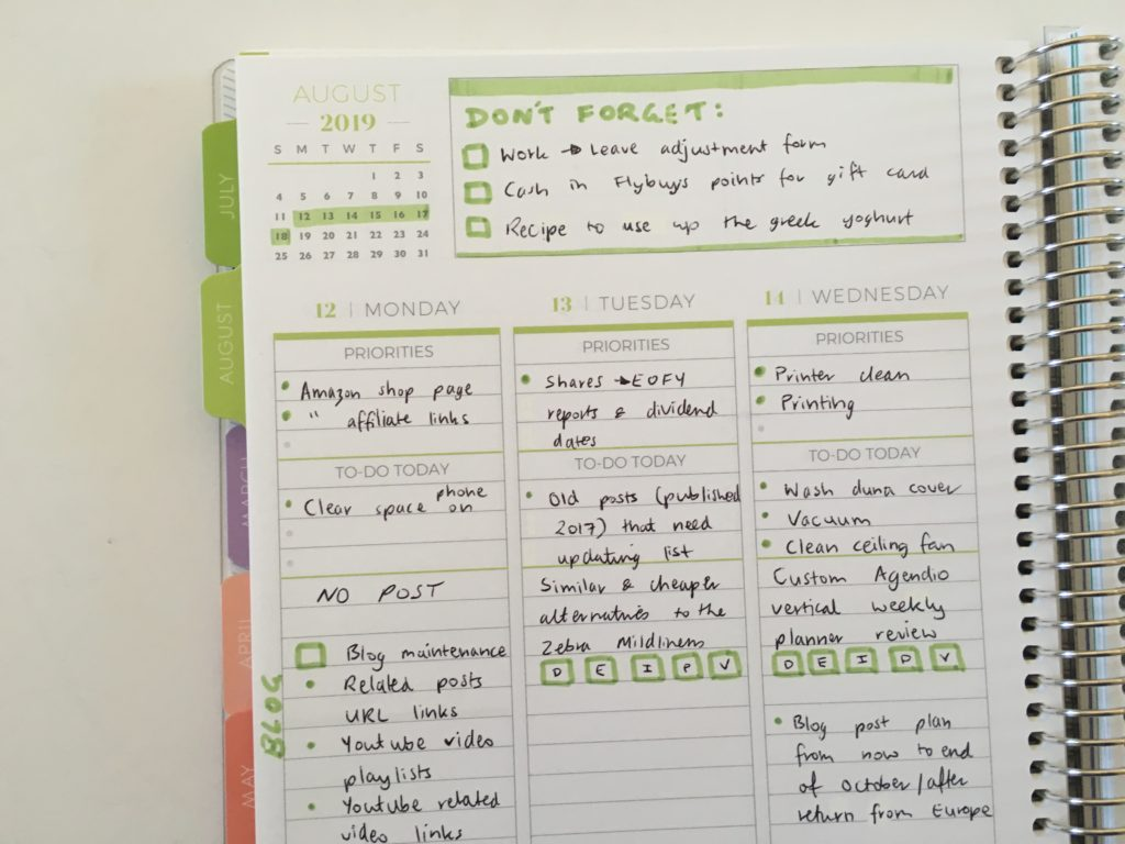 plum paper vertical priorities weekly spread review layout ideas simple minimalist green theme