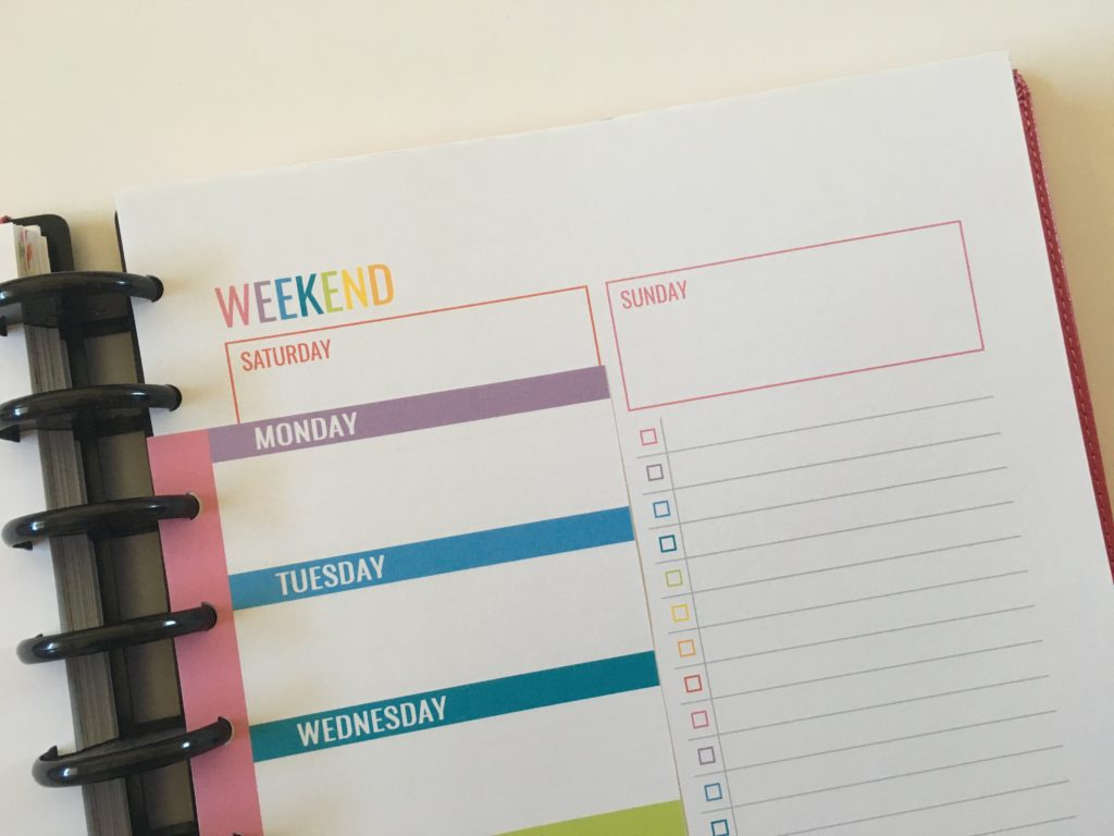 printable planner insert diy weekly half sheet mambi classic size weekend to do list