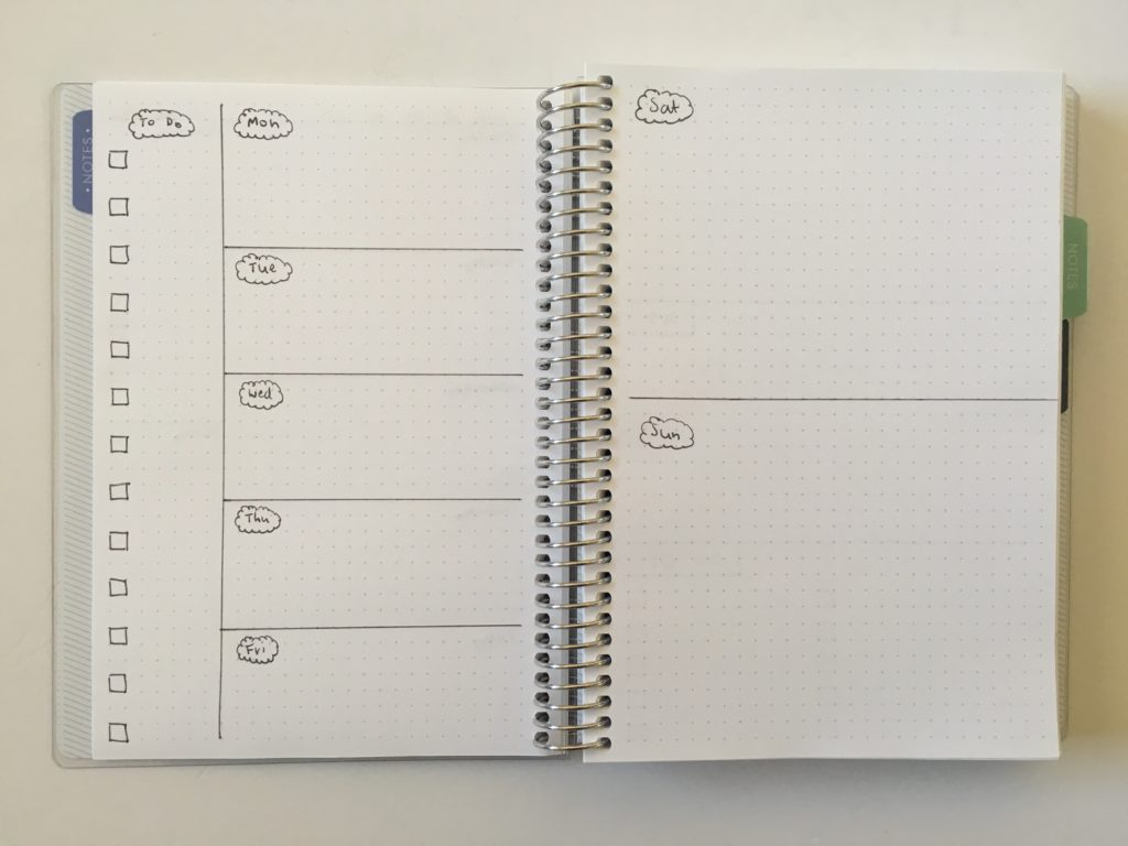 quick bullet journal 2 page weekly spread 5 day week larger weekend monday start simple minimalist