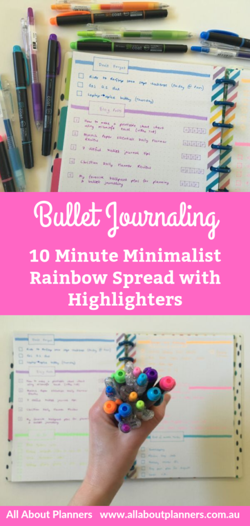 quick bullet journal rainbow weekly spread in 10 minutes minimalist highlighters tombow kay coat kei review free printable