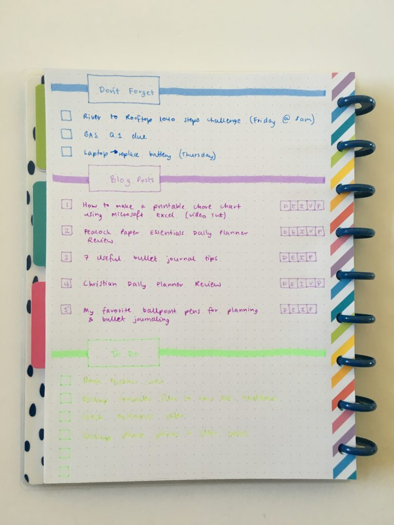 quick bullet journal weekly spread ideas simple minimalist colorful rainbow