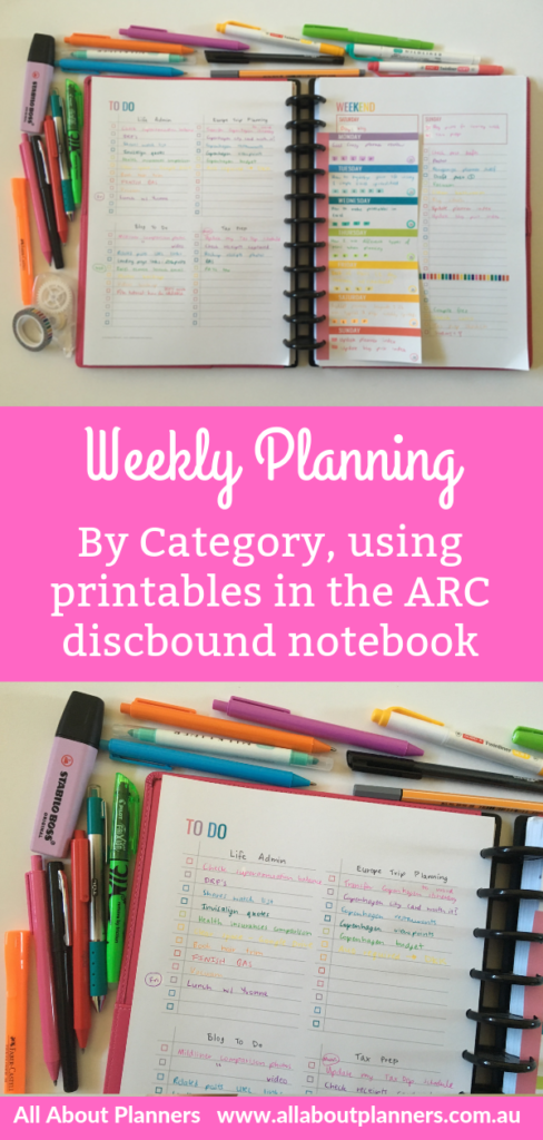 rainbow weekly planning spread arc printables classic size mambi happy planner compatible with letter size a4 arc color coding